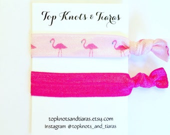 Elastic Hair Ties / Set of 2 / Flamingo Hair Tie