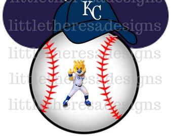 Kansas City Royals Mickey Baseball Head Transfers,Digital Transfers,Digital Iron Ons,Diy