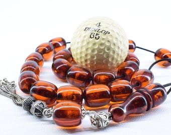 Cognac Amber color Komboloi, with Metal Tassel, Worry Beads, Greek Komboloi, Bakelite Beads, Relaxation, Gift for Men, Stress Relief, Tesbih