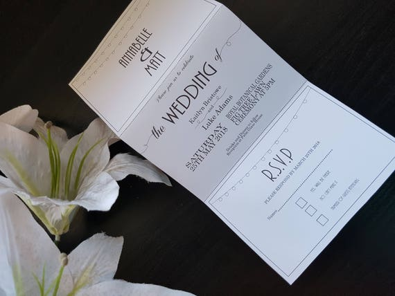lights tri fold wedding invitations with detachable rsvp card