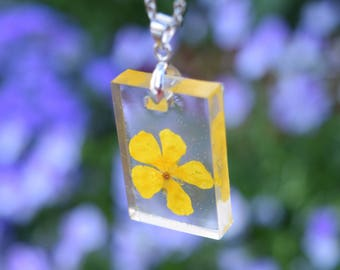 Buttercup Necklace / Real Flower Resin Jewelry