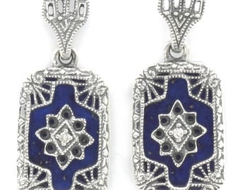 Victorian Style Blue Lapis and Diamond Filigree Sterling Drop Earrings - Sterling Silver Filigree Blue Lapis Diamond Dangle Earrings