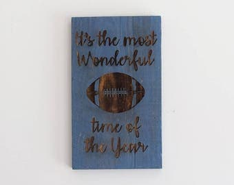Engraved Pallet Wood Sign- It's the Most Wonderful Time of the Year | Football Season | Gift | Man Cave | Recycled | Sustainable | Rustic