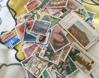 50 x used vintage postage stamps. Mixed theme. Scrapbook, smash book, junk journal, collage, card making