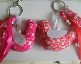 Handbag fabric birds and beads
