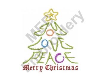Christmas Tree - Machine Embroidery Design, Joy Love Peace, Merry Christmas