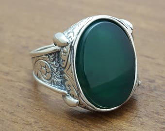 925K Sterling Silver Mens Ring With  Green Agate Stone