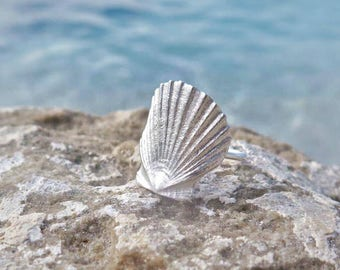 Calm shell ring, silver shell ring,silver sterling,hand made ring, summer ring,shell ring,calm shell,scallop ring,silver scallop,silver 925