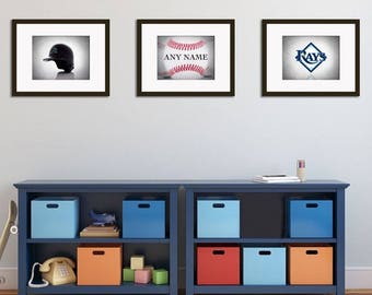 Personalized Set Of 3 Tampa Rays Prints Boys Room Decor Kids