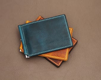 Personalized leather money clip wallet, Engraved money clip, Art. Wax leather money clip by NAVICO