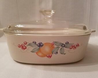 Vintage Corning Ware Pyroceram Abundance 2 Liter Covered Casserole Dish with Pyrex Lid ~ Corelle Abundance