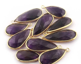 50% off 10 Pcs 24K Gold Plated Amethyst Gemstone Faceted Pear Drop Shape Single Bail Pendant 24mmx12mm-32mmx13mm PC019