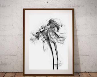 Smoke art-Cigar art, instant download, fine art photography, apartment decor, black and white art, man cave art, art modern, interesting art