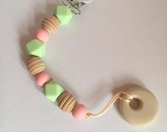Pink Sand Pacifier Teething Clip