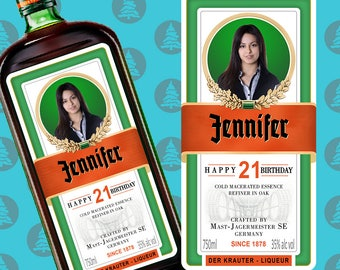 Personalised Jagermeister Label Jager label Bottle label Jagermeister bottle Alcohol gifts label Gift for husband on happy birthday