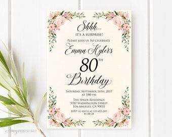Surprise 80th Birthday Invitation, Ivory Floral Birthday Invitation, Any Age, Watercolor, Cream Invite, PERSONALIZED, Digital file, #W66