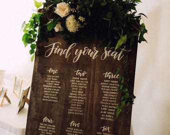 Rustic wooden wedding signage- Seating arrangement sign- Table arrangement sign- Seating plan- Wedding decorations- Handmade