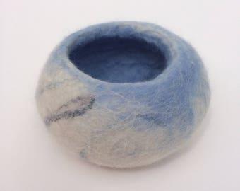 blue felted pot, wet felted bowl, vessel, pot, pod