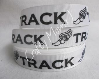 "Track sport 1"" Grosgrain Ribbon by the yard. Choose between 3/5/10 yards. Track Shoe Icon, winged shoes."
