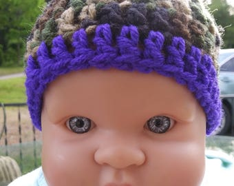 1~Beautiful Crochet baby beanie, 0-3 months~