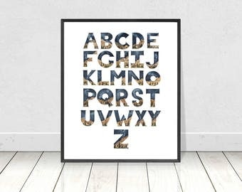 Printable Watercolor Alphabet Letters A to Z Art Print- Wilderness Nursery Room and Preschool Decor- Whimsy ABC Alphabet Camping Wall Art
