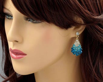 Blue Crystal Rhinestone Drop Dangle Earrings 18K Gold Plated