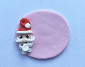 Polymer clay nurse Father Christmas badge