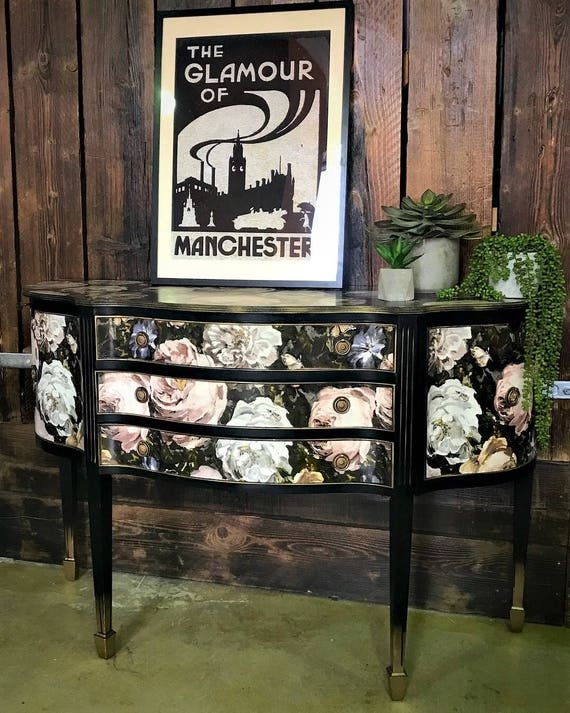 Fabulous Georgian style vintage solid wood cabinet glamorised in luxury florals and black satin paint