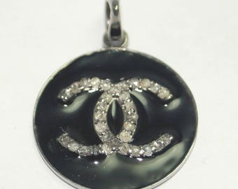 Fashion statement pave diamond Chanel inspired logo charm pendant in sterling silver with enamel - SKU PJ4101710