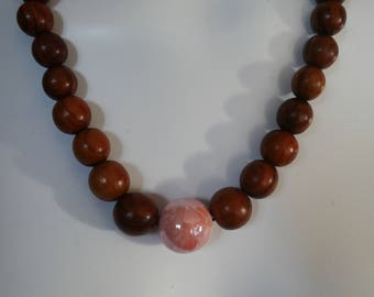 Pink and Brown wooden beads necklace