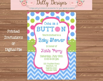 Cute as a Button Baby Shower Invitation, Cute as a Button Baby Shower Invite, Baby Shower Invitation,  Baby Shower Invite, Baby Shower