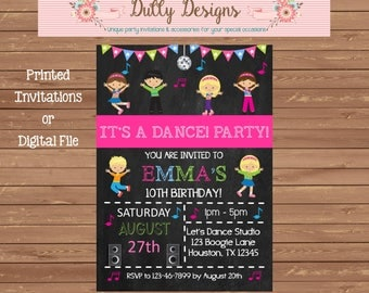 Dance Party Birthday Invitation, Dance Party Birthday Invite, Dance Party Birthday, Dance Invitation,Dance Invite,Chalkboard Birthday Invite