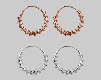 Twisted hoop earrings in rose gold or sterling silver // 14mm hoops // rose gold hoops // silver hoops