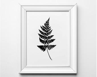 Fern Leaf Illustration, Fern Leaf Print, Fern Art Print, Black and White Plant Art, Printable, Minimalist Decor, Modern Art Print