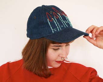 Hand embroidered denim baseball cap