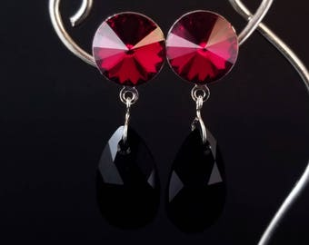 Red and Black Swarovski dangle earrings