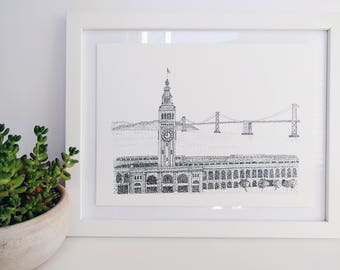 Original Black and White Ink Painting, San Francisco Ferry Building