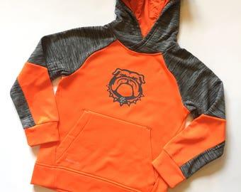 BOYS orange bulldog hoodie