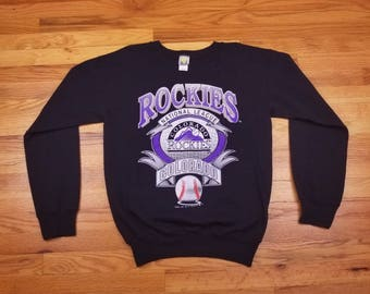 Vintage 90s 1992 Colorado Rockies Logo 7 BasballSweatshirt Sweater Long Sleeve Shirt Size Medium m