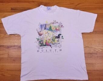 Vintage 90s 1991 Duluth Minnesota Wildlife Duck Fish Single Stitch T Shirt Size XL