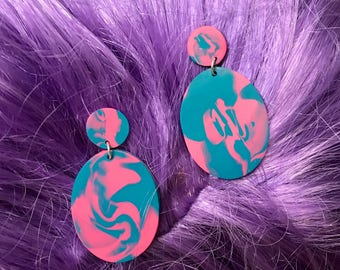 one of a kind - tropical earrings - statement earrings - neon pink + blue drop earrings