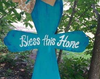 Personalized Turquoise Cross Door Hanger
