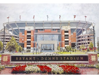 University of Alabama LIMITED EDITION Bryant-Denny Stadium Pen and Ink and Watercolor Art Print Illustration - Graduation Gift, Alumni
