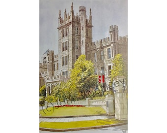Northern Illinois University LIMITED EDITION Pen and Ink and Watercolor Art Print Illustration - Graduation Gift, Alumni
