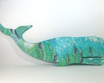Custom Whale Wall Art- Whale Wall hanging- Wooden Whale Decor- Whale Hanging- Ocean Decor- Beach Decor