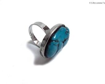 Oval silver imitation turquoise gemstone ring