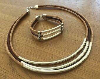 Eco and Vegan Friendly Cork Fashion Jewellery, Necklace and Bracelet Set