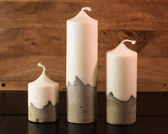 3 Scented Concrete Pillar Candles