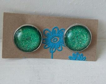 """""""Green Galaxy"""" Silver earrings"""