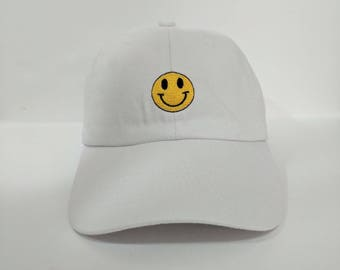 100% cotton white Smiley Face dad hat